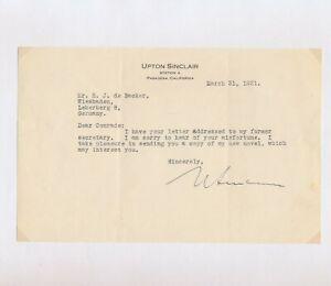 Upton Sinclair: Maschinengeschriebener Brief mit Unterschrift (1931).