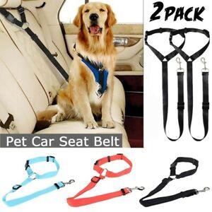 2PCS Dog Car Safety Seat Belt Restraint Harness Leash Travel Clip for Pet Cat US