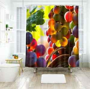 Transparent Grape 3D Shower Curtain Polyester Bathroom Decor  Waterproof