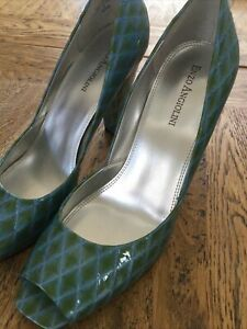 ENZO ANGIOLINI Leather High Heel Open Toe Green Blue Shoes Sz8.5M 39