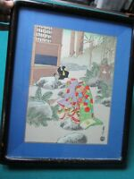 WOODBLOCK PRINT JAPANESE LADY WATERING THE GARDEN SIGNED