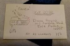 "HAM CB RADIO QSL Trading Card ""RAVEN - DAVE RAYDO - ERIE, PA"""