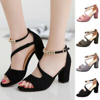 Women Summer Sandals High Heels Open Toe Plus Size 34-43 Elegant Ladies Shoes US