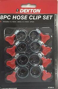 DEKTON 8PC Hose Clip Set-DT30912 BUTTERFLY STYLE SCREW