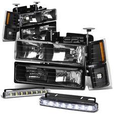 FOR 94-98 C10 SUBURBAN BLACK/AMBER HEADLIGHT+TURN SIGNAL+BUMPER+LED FOG LIGHT