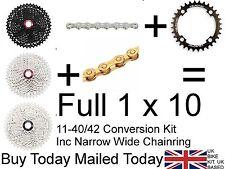 1 x10 speed 11-40/42T Conversion Kit 4 Shimano 104 bcd XT R Deore SLX Thick Thin
