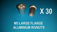 30 X ALUMINIUM RIVNUTS M5 NUTSERT RIVET NUT LARGE FLANGE NUTSERTS RIVNUT RIV NUT