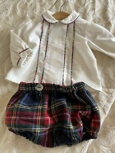 Miranda Baby Boys Girls Spanish Outfit Tartan Blouse Bloomers Up To 1 Month