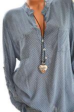 Leichte Hemd Bluse gepunktet Tunika Fischerhemd 42 44 46 JEANSBLAU Neu Italy