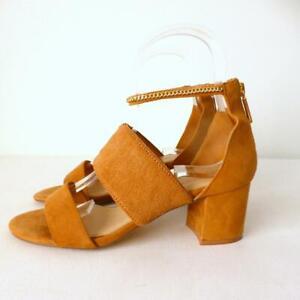 MIMCO Women's Suede Shoes Block Heel Sandals With Heel Zip Ankle Strap Size 40