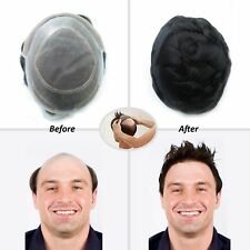 Lace Front Men's Hairpieces Replacement Hair System Mono with Skin Toupee  #1B