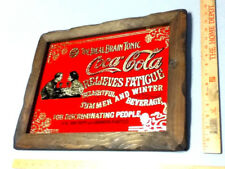 Coca-Cola sign reverse painted foil glass wood framed 5 cents wall art coke JX9
