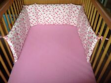 Cushi cots cot bed bumper girls vintage rose with sweet pink  new