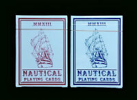 SET of 2 - NAUTICAL RED and BLUE Playing Cards - HOPC