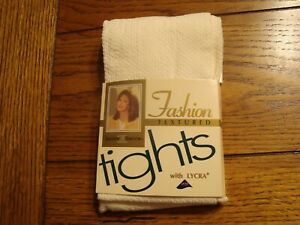 Vintage Jaclyn Smith Fashion Textured Tights Ivory Color - Size MEDIUM TALL -NEW