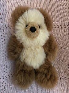 Baby Alpaca Fur Teddy Bear - Hand Made 10 Inch Multi - Brown & White