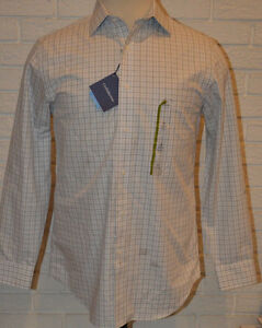 Men's Croft & Barrow White Plaid Long Sleeve Button Front Shirt 15 (32/33)