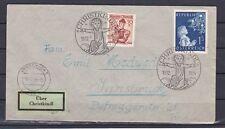 RRR Brief mit Leitzettel Christkindl dreiseitig gezähnt gelaufen 1954 ANSEHEN