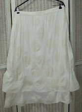 "INCO Lagenlook Skirt 34"" Waist Ivory White Circles Layered Midi Skirt EU44 Large"