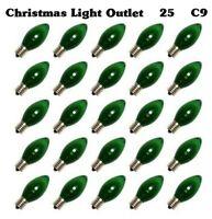 25 C9 Green Transparent Replacement Bulbs Xmas Lights