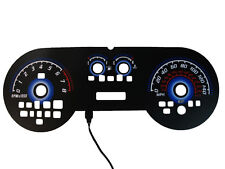 2005-2009 Ford Mustang GT 140MPH BLACK FACE BLUE GLOW GAUGE FACE OVERLAY