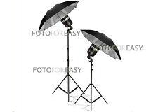 "2X SY3000 Photo Studio Strobe Flash Light Bulb W/33"" Umbrella Lighting Stand Kit"