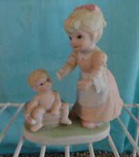 Mother baby bath in old fashion tub Homco 1450 # figurine