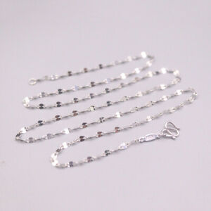Fine Pt950 Platinum Woman Luck Lip Chain Link Necklace 17inch 2mmW 2-2.3g