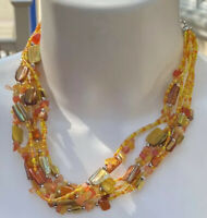 Vintage Multi Strand Mother Of Pearl Glass Seeds Beads Necklace 20'