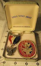 VINTAGE BSA Award Boy Scout STERLING Stange 2 Eagle Medal, case & Patch MINT