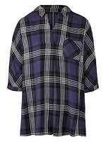 New Capsule plus size 14 18 20 22 24 26 28 30 32 purple check shirt blouse top