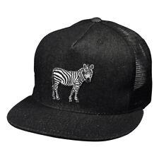 Zebra Black Denim Trucker Hat