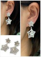 Silver Diamante Star Drop Dangle Clip On Earrings Crystal Bridal Non Pierced