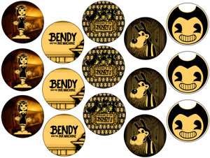BENDY INK MACHINE INSPIRED 15 x 2'' ROUND EDIBLE WAFER / ICING CUPCAKE TOPPERS