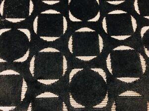 SAHCO Cut Velvet Geometric Upholstery Fabric- Dalston / Black (0007) 2.15 yd