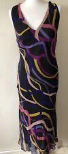Planet 100% Silk Maxi Dress Size 10 Multicolour Cross Back Summer Floaty