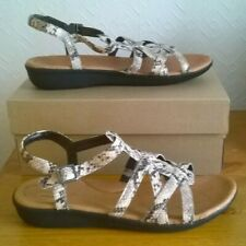 NEW IN BOX. SIZE 9D CLARKS TAUPE  FAUX SNAKE SANDALS. CHARITY SALE