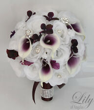 17 Piece Package Silk Flower Wedding Bridal Bouquets Set Picasso Calla Lily PLUM