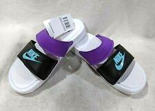 Nike Benassi DUO White/Aurora Green/Blk Women's Ultra Slides Sandals-Sz 6/7/8/9