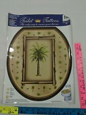 Toilet Tattoos NEW Palm Tree bamboo vacation theme round seat elongated removabl
