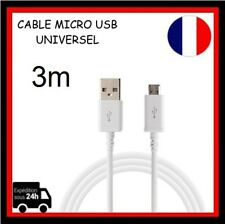 Cable Micro USB 3m Data Sync  Chargeur pour Smartphone Tablette Blanc