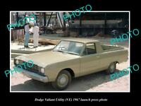 OLD POSTCARD SIZE PHOTO OF 1967 DODGE VE VALIANT UTE LAUNCH PRESS PHOTO 2