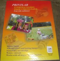 "Printlab 25 Sheets Everyday Glossy Inkjet Photo Paper 8.5""x11"" Letter Size"