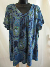 Plus Size 4X Top Tee Blouse 100% COTTON Shirt STRETCH Cruise SUMMER Casual NWT