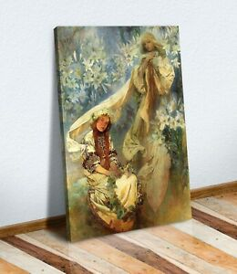 CANVAS WALL ART PAINTING PRINT WOMEN ART NOUVEAU Alphonse Mucha Madonna Lillies
