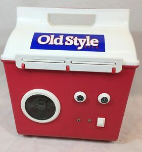 VTG OLD STYLE BEER CAN BOTTLE COOLER AM/FM RADIO BATTERY POWERRED MINT NEW & BOX