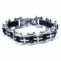 Fashion Men's Fashion Stainless Steel Silicone Cross Charm Bracelet Jewelry 6A