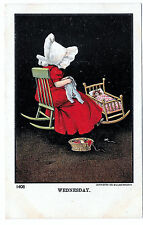 Vintage Sunbonnet Girl Postcard Wednesday Days of the Week Sewing Ullman