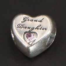Sterling Silver - PANDORA Granddaughter's Love Heart CZ Charm Bead - 3g