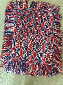 """Saydee's Handmade Creations"" Red,White & Blue Arm Chair Afghan w/ Fringe-NEW"